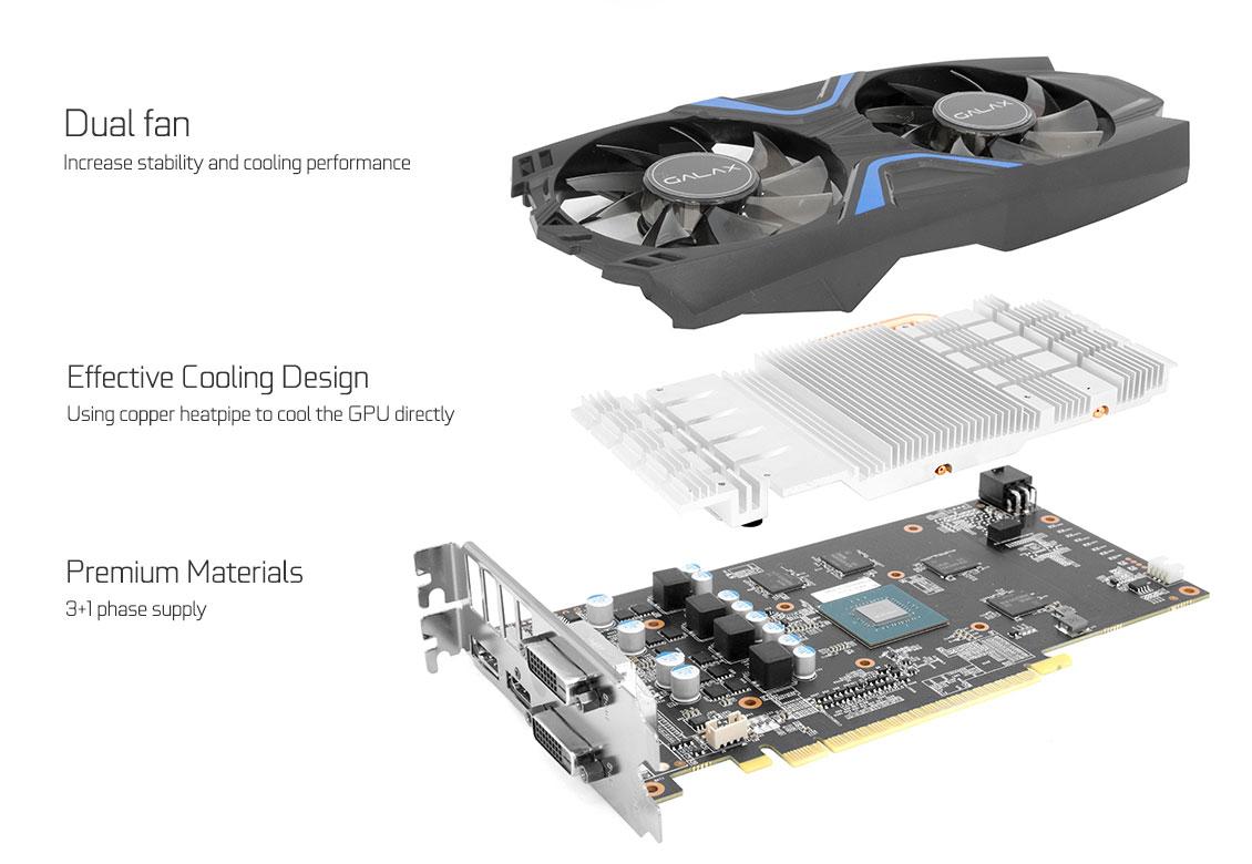 GALAX GeForce® GTX 1050 EXOC - GeForce® GTX 10 Series - Graphics Card